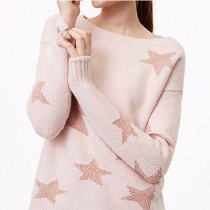 LOFT Pink Metallic Star Print Long Sleeve Sweater
